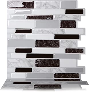 Tic Tac Tiles Peel and Stick Self Adhesive Removable Stick On Kitchen Backsplash Bathroom 3D Wall Sticker Wallpaper Tiles in Polito Designs (5 Sheets, Polito Black & White)