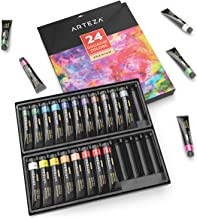ARTEZA Gouache Paint, Set of 24 Colors/Tubes (24x12ml/0.4oz) with Storage Box, Rich Pigments, Vibrant, Non Toxic Paints for The Professional Artist, Hobby Painters & Kids, Ideal for Canvas Painting