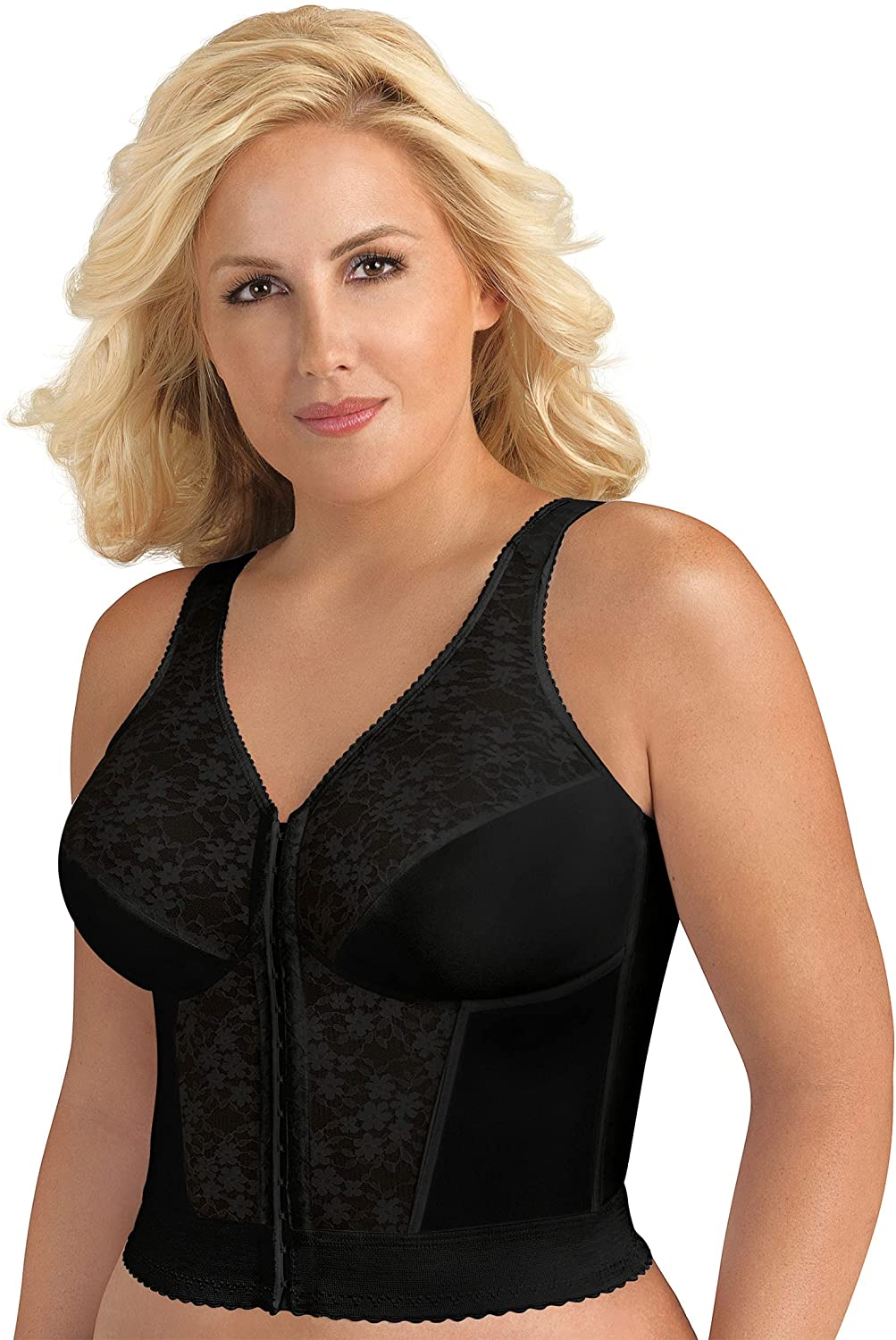Exquisite Form FULLY Full-Coverage Slimming Longline Posture Bra, Front Closure, Lace, Wire-Free #5107565