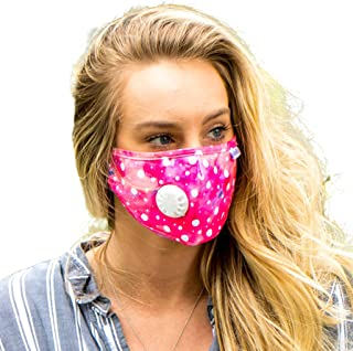 AerHeart Cute Reusable Pollution Face Mask with 6 N99 Carbon Filters (Pink Watercolor/Polka Dots)