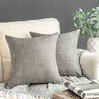 Phantoscope Set of 2 Soft Textured Lined Linen Burlap Throw Pillow Cushion Cover Grey 22 x 22 inches 55 x 55 cm