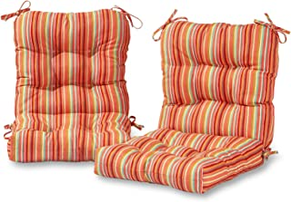 Greendale Home Fashions Outdoor Seat/Back Chair Cushion in Coastal Stripe (set of 2), Watermelon