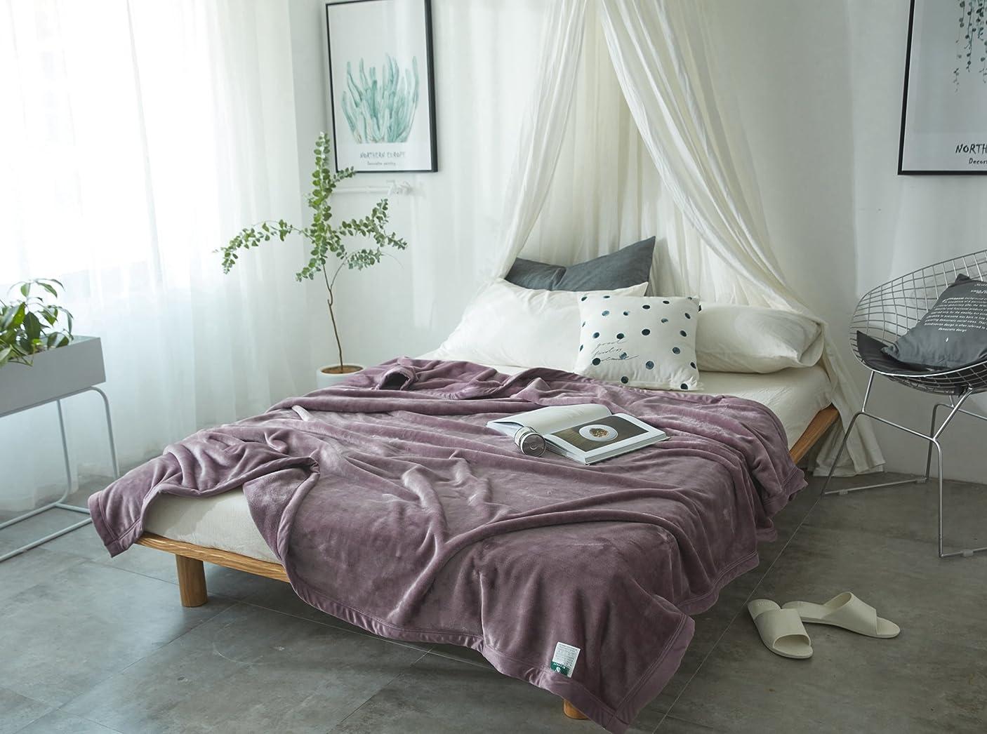 消去最愛のシンジケートToodou 毛布 ブランケッド ふんわり 柔らか 水洗い 軽量 毛布 パープル230cm*270cm