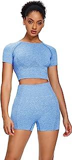Sytiz Women Seamless Yoga Outfits 2 Piece Set Workout Gym Shorts + Short Sleeve Crop Top