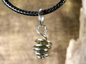 Steel with Genuine Moldavite Cage Pendant or Bracelet Charm Made from Stainless Steel and Czech Moldavite, Meteorite Jewelry, Green Tektite (Pendant Only) Moldavite Necklace