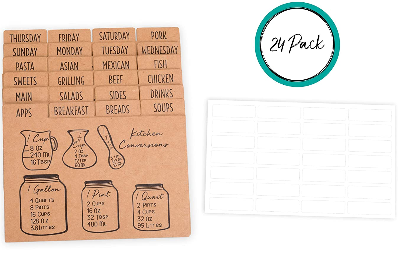 """4"""" x 6"""" Recipe Cards Dividers with Tabs (Set of 24) 