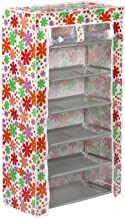 GTC Shoe Cabinet Rack Light Weight Foldable Shelves Storage Organizer for Home and Office (6 Layer, White Flower Mix Color)