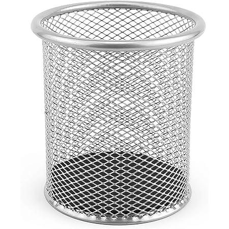 D.RECT Pot à crayons en métal | Porte-stylo rond en métal | Mesh stylo pot | Ø 91mm argent tons argentés 110484