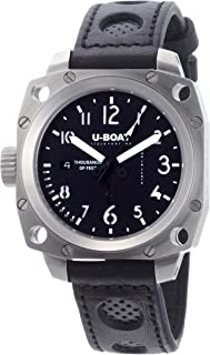 U-Boat Men's ' Thousands of Feet Swiss Automatic Stainless Steel and Leather Sport Watch, Color:Black (Model: 1888