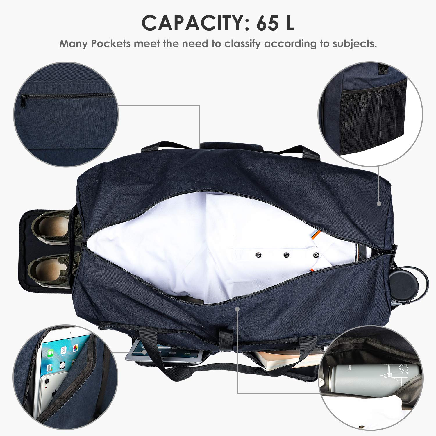 Fortunam Foldable Travel Duffel Bag Waterproof Sports Gym Bag Training Handbag with Shoe Compartment and Wet Pocket Travel Duffel Holdall Large