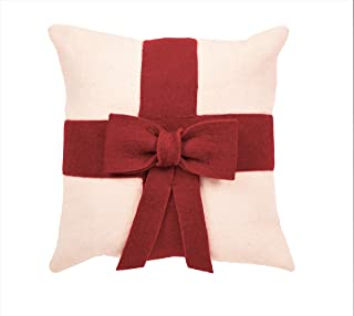 ARCADIA HOME Red Bow Christmas Cover in Hand Felted Wool-20 Pillow, Cream