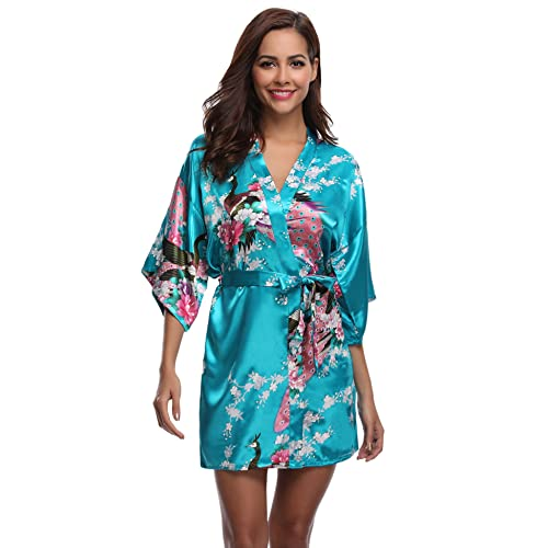 e9e50bc572 Aibrou Womens Bridesmaid Robes Short Peacock Blossoms Silk Stain Kimono Robe  Dressing Gown