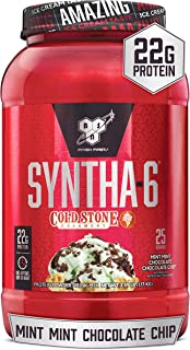 BSN Syntha-6 Whey Protein Powder, Cold Stone Creamery- Mint Mint Chocolate Chocolate Chip Flavor, Micellar Casein, Milk Pr...