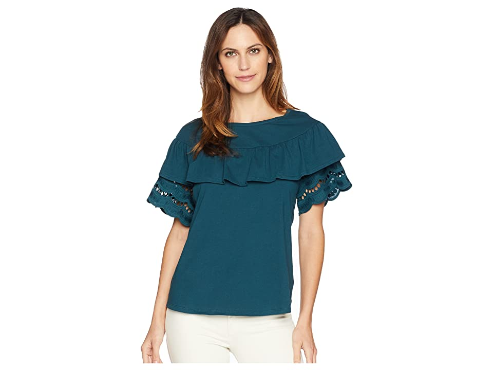 B Collection by Bobeau Brynlee Lace Trim Tee (Deep Teal) Women