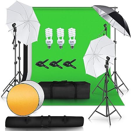 写真撮影キット 背景フレーム ソフト傘 折り畳み アンブレラ 背景布 シート 紙 黒 白 緑 45W電球 LED ライト 2M 三脚 スタンド 背景 レフ板 キャリングバッグ スタジオ撮影 ビデオ 広告 インタビュー 人物撮り