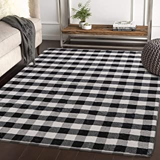 HAOCOO Area Rugs 4'x5.3' Large Modern Accent Buffalo Plaid Throw Rugs Super Soft Velvet Non-Slip Geometric Floor Carpet for Bedroom Living Room Nursery