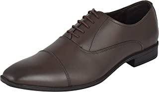 Auserio Men's Brown Genuine Leather Oxford Shoes