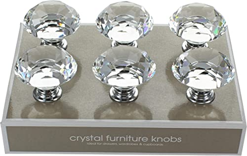 G Decor England Pack of 6 x 40mm Clear Crystal Diamond Glass Knobs Contemporary Cabinet Pulls for Cabinets, Drawers a...