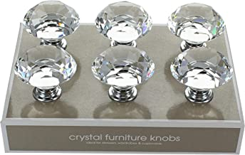 G Decor England Pack of 6 x 40mm Clear Crystal Diamond Glass Knobs Contemporary Cabinet Pulls for Cabinets, Drawers and Dr...