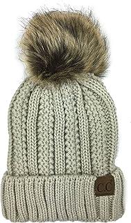 Plum Feathers Soft Thick Faux Fur Pom Pom Fleece Lined Skull Cap Cuff Beanie