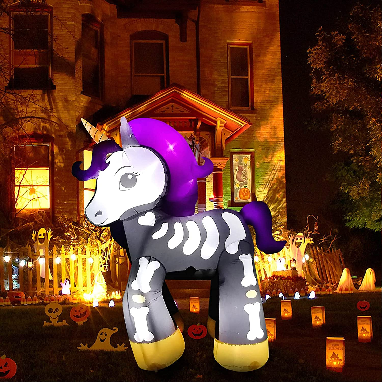 Mwfus 6FT Height Award-winning store Halloween Outdoor Skeleton Inflatable Save money Unicorn