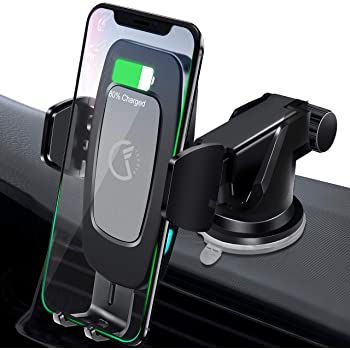 Black Wireless Car Charger,15W//10W//7.5W Windshield Dash Vent QI Fast Charging Phone Holder Electric Auto Clamping Compatible with iPhone 11//XR//XS//8+,Galaxy S10//S9//S8,HUAWEI P30Pro,LG V30