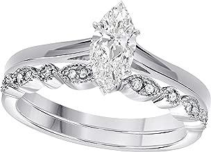 Gems and Jewels 1.00 Ct Marquise Shape & Round Cut White CZ Diamond 14k White Gold Plated Art Deco Vintage Design Wedding Bridal Set Engagement Ring