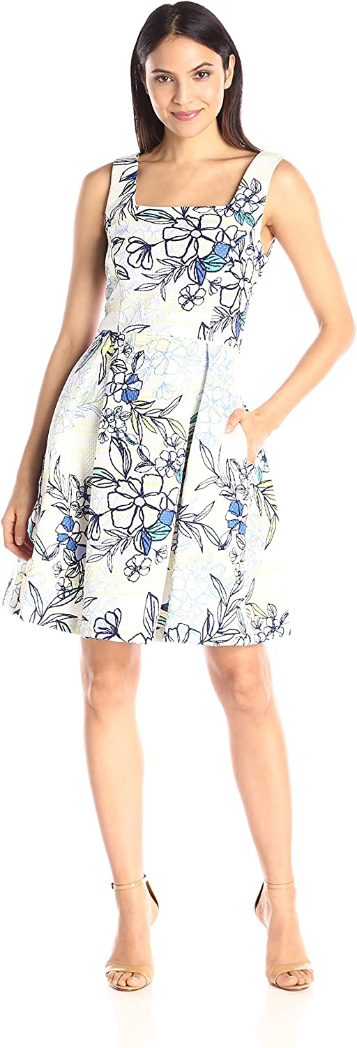 Julian Taylor Womens Fit and Flare Pleated Dress Dress