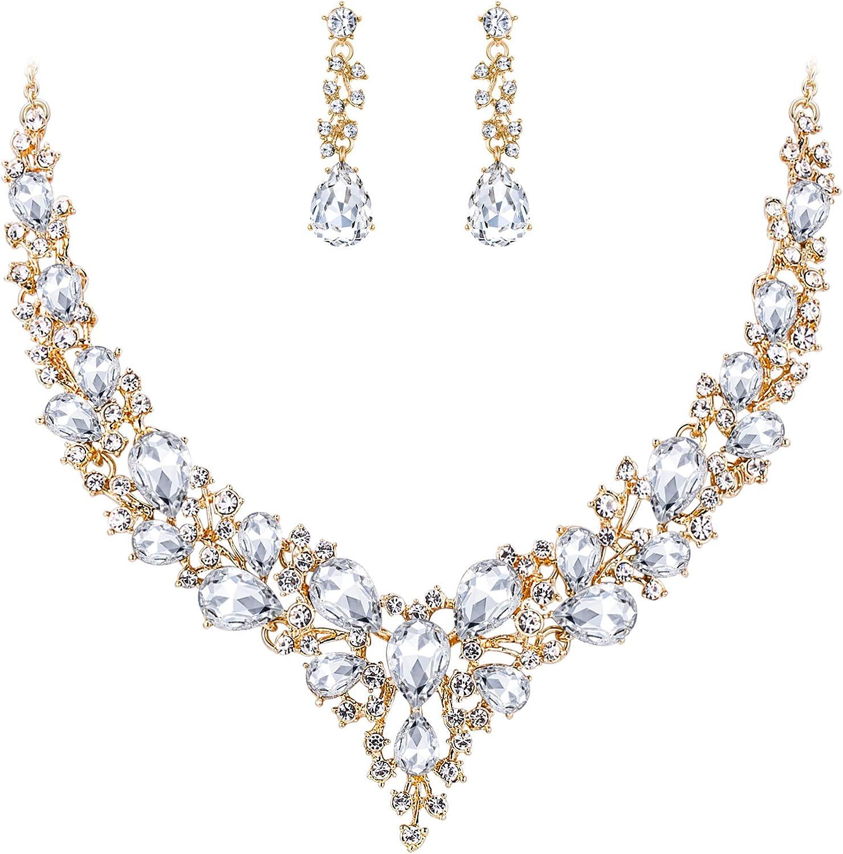 BriLove Women's Wedding Bridal Austrian Crystal Teardrop Cluster Statement Necklace Dangle Earrings Jewelry Set