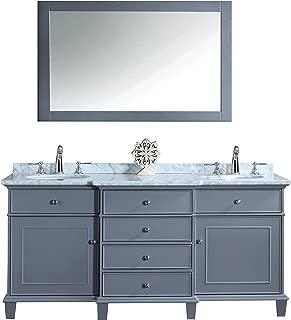 Stufurhome HD-7000G-60-CR Cadence Double Sink Bathroom Vanity With Mirror, 60