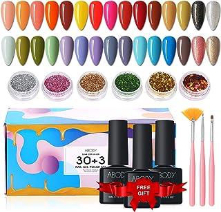Esmaltes Semipermanentes, Abody 43PCS Esmalte de Uñas en Gel UV LED, Incluye 30 Colores Esmaltes de Uñas, con Base, Capa S...