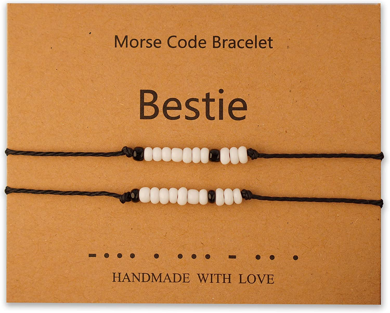 Jewanfix Morse Code Bracelet Pinky Brac Matching New product! New type Pomise Max 54% OFF Distance