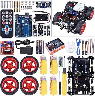 Upgraded Bluetooth RC Smart Robot Car Kit,Kuman UNO R3 robotics kit building Sets with Line Tracking Module,Ultrasonic Sensor,Servo Motor,LED,Buzzer Horn,Tutorials for Arduino project Beginner,Kid