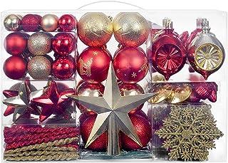 YILEEY Adornos de Navidad Decoracion 136 Piezas Rojas y Doradas, Arboles de Navidad Bolas de Plastico, en 23 Tipos, Caja d...
