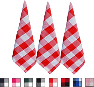 Red and White Buffalo Checked Dish Towels - Buffalo Checked Kitchen Towels - Cotton Dish Towel - Red Dish Cloths - Checkered Dish Towels - Cotton Tea Towels - Set of 3 (18