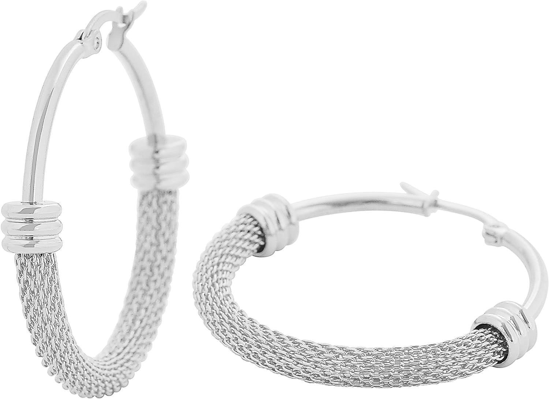 Edforce Women's Stainless Steel Half Hoop Half Mesh Link Hoop Earrings (28mm-40mm)
