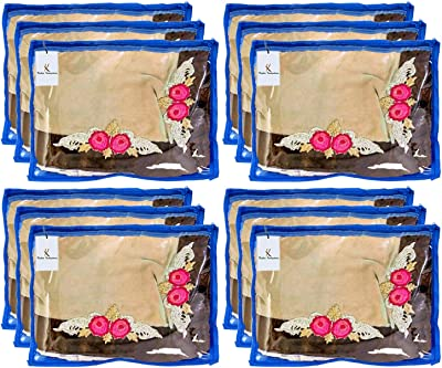 Kuber Industries Non Woven 12 Pieces Single Packing Saree Cover Set (Blue)-KUBMART2830