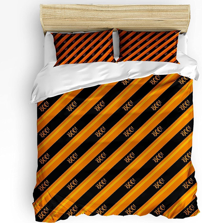 3 Piece Bedding Cover Set Orange Opening large release sale Ranking TOP7 Diagonal Comf Stripes Halloween