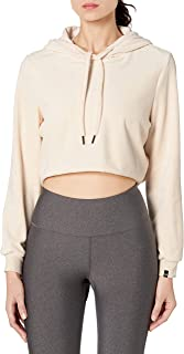 True Religion Women's Long Sleeve Velour Crop Pullover Hoodie Sweatshirt