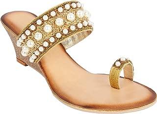 Catwalk Women's Pearl Detail Toe Ring Wedges