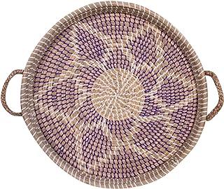 Thirteen Chefs Modern Village Seagrass Decorative Tray 18 Inch Purple