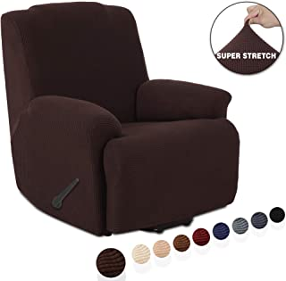 TIANSHU Stretch Recliner Covers, Recliner Chair Slipcovers,1 Piece Furniture Cover for Recliner Couch Cover with Pocket (Recliner, Chocolate)