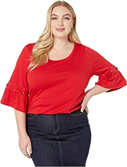 Plus Size Laced Sleeve Flare Tee