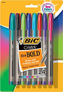 BIC MSBAPP241-A-AST Cristal Xtra Bold Fashion Ballpoint Pen, Medium Point (1.6mm), Assorted Colors, 24-Count