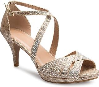 c1162d10728b OLIVIA K Women s Sexy Strappy Glitter Rhinestone Open Toe Heel Sandals -  Adjustable Buckle