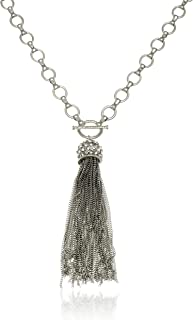Long Silver Chain Tassel Pendant Necklace with Crystal Fireball