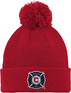 MLS by Outerstuff Cuffed Knit Hat with Pom, Red Black, Youth Boys 1 Size