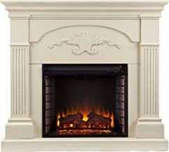 Southern Enterprises Sicilian Harvest Electric Mantel Fireplace -Radiant Heat Space Heater - Ivory Finish