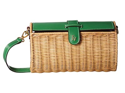 Frances Valentine Arielle Wicker Satchel (Natural/Green Ray) Handbags