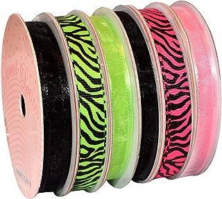 Morex Ribbon 6-Pack Polyester/Nylon Sweet Petite Ribbon, Neon Animal, 50-Yd